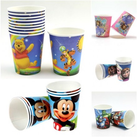 Character Disposable Paper Party Cups, 10pack- assorted characters