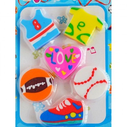 6pack Sporty Erasers in Blister Pack