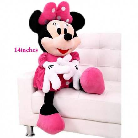 "Disney  Minnie Mouse 14"" Inch Plush w/ Pink Dress and Bow"