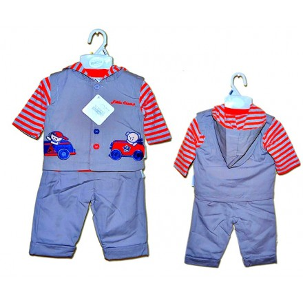 Nursery Time Baby Boys Hooded Outfit Set- 3mths-18mths