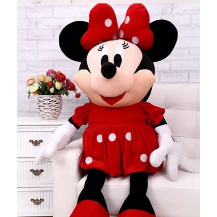 "Disney Minnie Mouse 14"" Inch Plush w/ Red Dress and Bow"