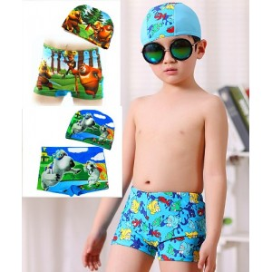 Boys Cartoon Swim Trunks and Cap set (2-4yrs, 5-7yrs, 8-10yrs)