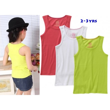 TEX Girls Solid Tank Tops- White, Blue, Green, Pink (2-3yrs)