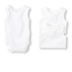 George Sleeveless White 100% Cotton Bodysuit 3-Pack- Unisex (0-9mths)