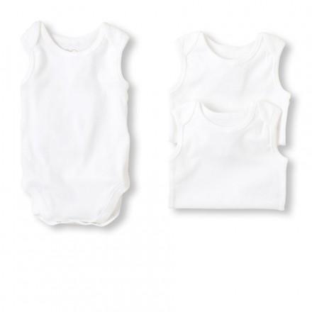 George Sleeveless White 100% Cotton Bodysuit 3-Pack- Unisex (0-9mths)