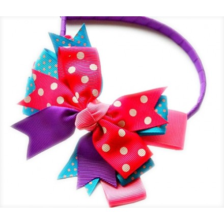 Cute Girls Polka Bow Hair Alice Bands- Assorted designs