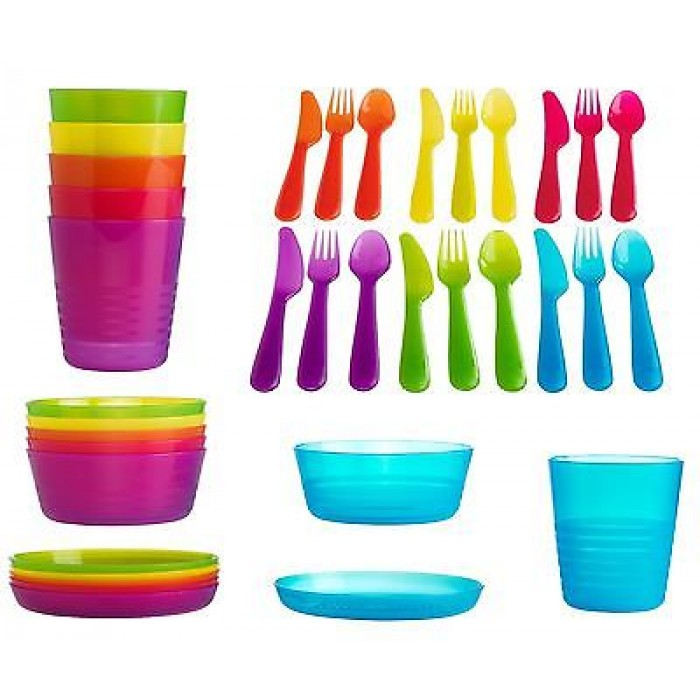 ikea kalas children baby kids plastic 36 piece party cutlery cups plates bowls. Black Bedroom Furniture Sets. Home Design Ideas