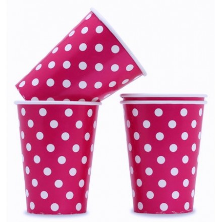 Pink Polka Dot Paper Drinking Cups