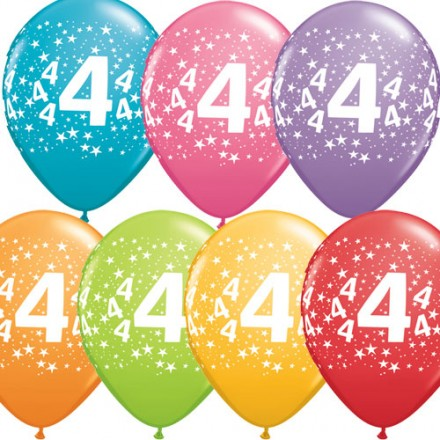 Large Numbers Print Birthday Latex Balloons - 10pack