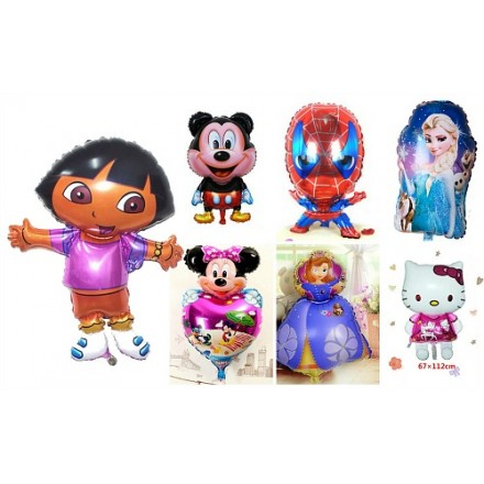 Large 3d Party Foil Helium balloons- Frozen, Sofia, Batman, Spiderman, Minnie, Kitty, Dora, Princess