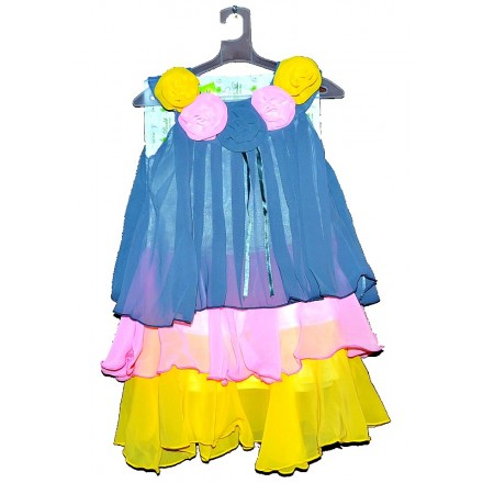 Pankh Girls Chiffon Layered Dress- 4-10yrs