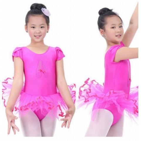 Girls Short sleeve Ballet Tutu Dance dress - 2-7yrs- assorted colours