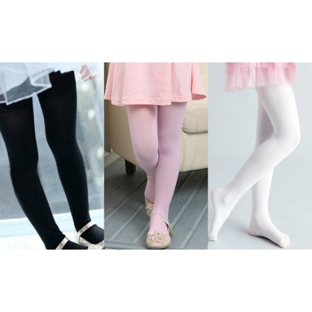 Girls Jacquard Plain Tights- Black, Cream, Light Pink- 1-3yrs, 4-7yrs, 8-12yrs