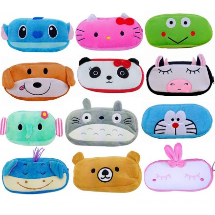 Cute Cartoon Plush Pencil Zippered Bag- assorted