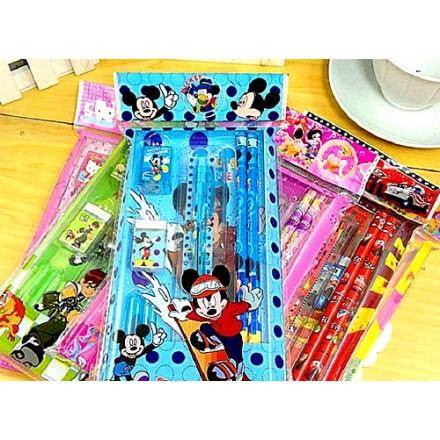 Character 8pc stationery set- includes 2 pencils, 2 pencil caps, 1 pen, 1 ruler, 1 sharpener, 1 eraser (sold in dozens)