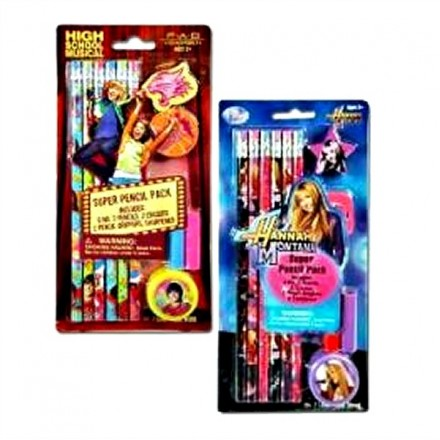 Disney Super Pencil Pack (6 Pencils, 2 Erasers, 2 Pencil Grippers, & Sharpener)- HSM, Hannah