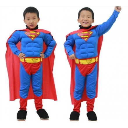 Boys Deluxe Padded Muscle Chest Superman Costume - 2-3yrs