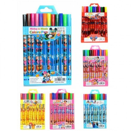 Character Kids 12pack Color Pen Set (assorted designs)