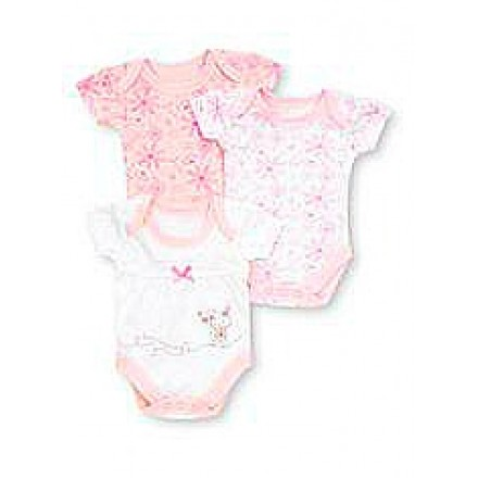 George 3 Pack Short Sleeve Pink Body Suits (0-3mths)