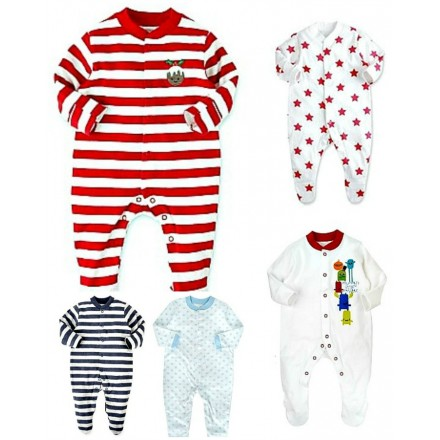 George Assorted Baby Sleepsuits (0-9mths)- Pack of 3 (baby boys & Girls)