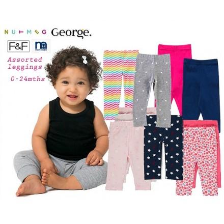 UK Baby Girls Stretch Leggings assorted designs (0-24mths)