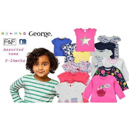 UK Baby Girls Bundle Tees assorted mix designs (0-24mths)