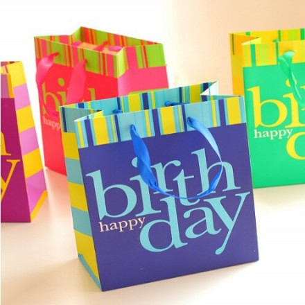 Birthday Graffiti Gift Bag- assorted colours