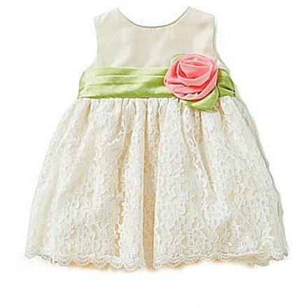 Jayne Copeland Baby Girl Rosette Sash Lace Dress- 3-6mths