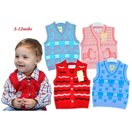 Baby V-neck Sleeveless Button Sweater Vest- 4 colours (3-12mths)