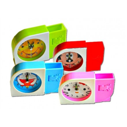 Cartoon Kids Alarm Quartz Clock and Pen Stand- 4 designs