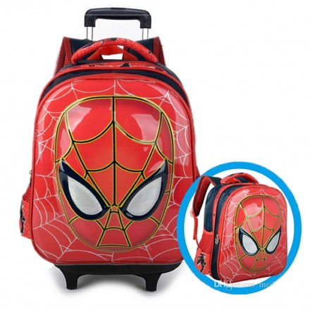 6d Kids Cartoon Face Detachable Backpack Trolley- 16inches (New design)