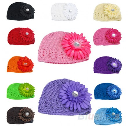 Girls Crochet Beanie Hat with flower Detail- assorted colours