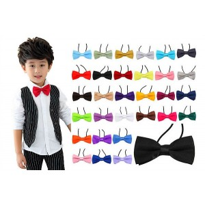 Boys Elastic Pre-Tied Satin Bow Ties - assorted colours