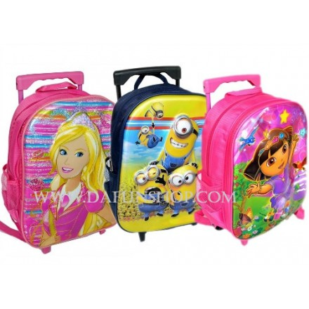 5D Toddler 13inches Trolley Backpack- assorted