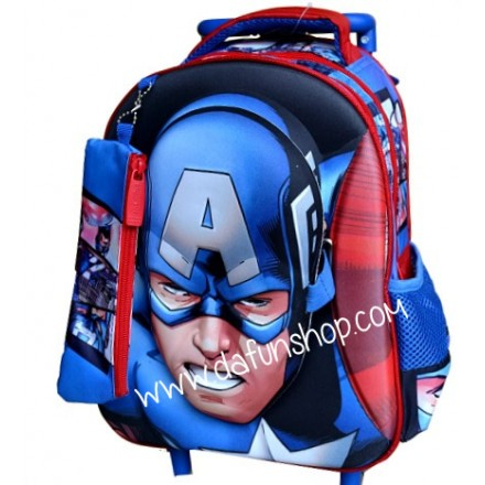 Captain America Boys 3d Toddler Trolley Backpack (with Mask)- 12inches