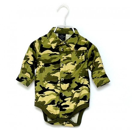 Faded Glory Baby Long Sleeve Camo Bodysuit (0-6mths)