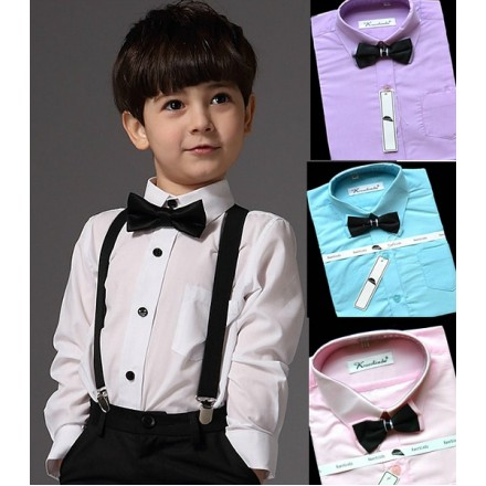 Kaerbindu Boys Formal Shirt with bow tie (3 colours- blue, pink, lilac) 1-8yrs