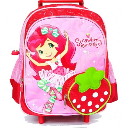 Strawberry Girls 13inches Rolling Backpack Mini Trolley