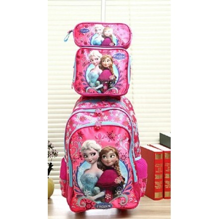 Frozen 3d School 3piece Set- Trolley, Lunch bag & pencil case