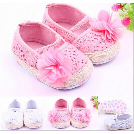 Soft Touch Baby Girl Crochet Knit Soft Shoes- 0-9mths