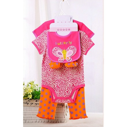 Carter's baby 5piece set- Includes 2 bodysuit, 1 pants, 1 bib and 1 pair of booties (Butterfly)- 3mths