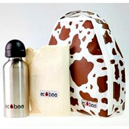 Ecoboo Funky Cow Insulated Lunch Bag Set With Drinks Bottle Set