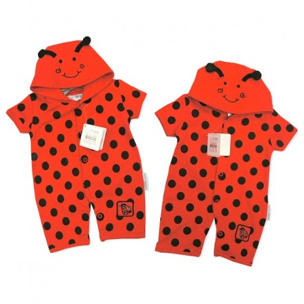 CUTE LADYBIRD BABY HOODED ROMPER BY NURSERY TIME (0-3mths, 3-6mths)