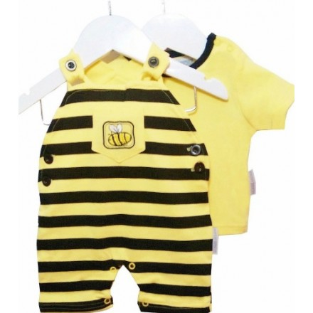 Baby Bee 2pc Dungaree Outfit Set by Nursery Time (0-3mths)- unisex