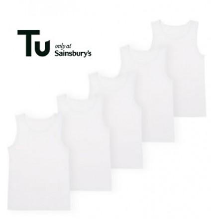 TU Boys White Plain Cotton Vests  (1-8yrs)