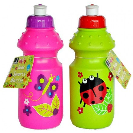 Kid's Plastic 400ml Sport Bottle - Butterflies, Ladybird designs