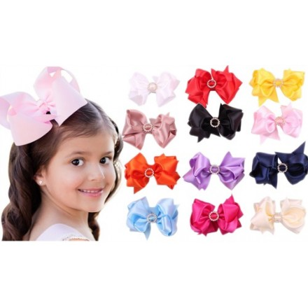 6inch Girls Big Grosgrain Hair Bow Clip with embellishment -assorted colours