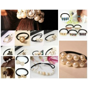 Lovely Women/Girls Pearl Hair Elastics/Bracelets assorted designs