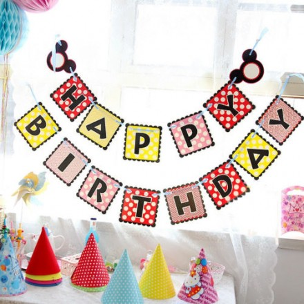 Mickey Mouse Happy Birthday Paper Banner Buntings