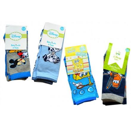 Disney Baby Boys 2pack Socks- Mickey, Planes, Spongebob, 101 Dalmatians (0-36mths)